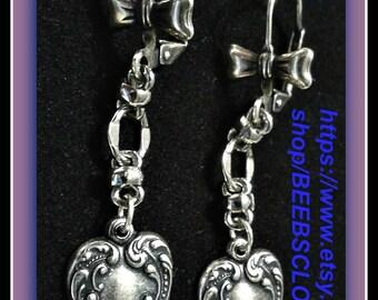 Silver heart earrings, Valentine Jewlery