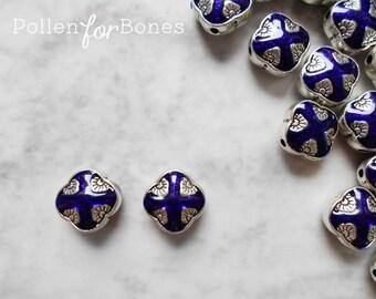 1pc ∙ Tibetan Beads Cobalt Blue Enamel Diamond Ethnic Spacers Nepal Silver Jewelry Supplies