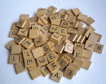 203 Vintage Scrabble Tiles, Vintage Bulk Letters,Two Sets from a Dutch Scrabblegame 1970's..