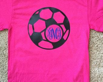 Soccer Vinyl Monogram Shirt, Short Sleeve for Youth and Adult