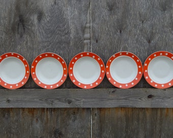 Set of 5 Soviet Vintage Polka Dot Bowls or Dessert Plates,Made in USSR Collectibles Tableware items from 1970-s.