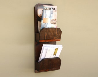 Hanging Mail Organizer Wall Mounted Wood Mail Holder