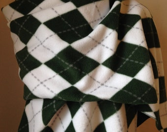 Green and White Fleece Scarf, Football Scarf, Shawl,Green Argyle Fleece, Green and White Fleece Scarf,Gift, College Scarf, FREE SHIPPING