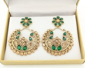 Stunning Handmade Ram Leela Pearl  Kundan Stone Emerald Green Antique Gold Indian Bollywood Vintage Earrings Wedding Bridal in Gift Box