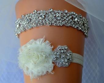 Wedding Garter, Bridal Garter, Wedding Garter Set, Shabby Chic Flower Crystal Bridal Garter Set, Ivory Bridal Garter Belt Set