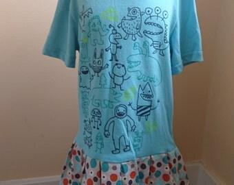 Monster Dress - Blue and Orange Toddler Girls Monster Eye Ball T-shirt Party Dress - Size 4t