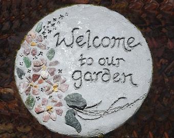 All-Natural Mosaic Stepping Stone, Engraved Stepping Stone, Welcome Sign, Garden Decor, Concrete Garden Art, Housewarming Gift, Garden Gift