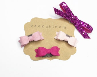 Petite Mini Wool Felt No Hair Hair Clip - Baby Bow - No Hair Hair Clip - Bald Baby Hair Clip - Peekabloom