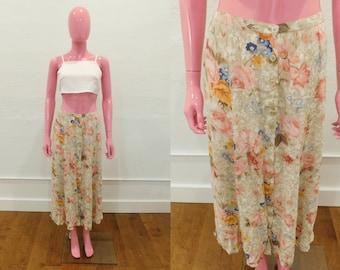 Vintage 90's Floral Print Button Down Long Midi Maxi Skirt - Size Medium