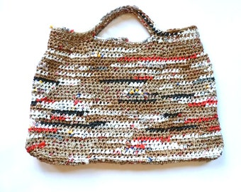 """Crocheted Large Tote, Handmade from Plastic Bags """"Plarn"""", Size 24"""" x 15 """""""
