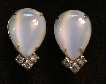 La Rel Blue Cabochon and Rhinestone Earrings