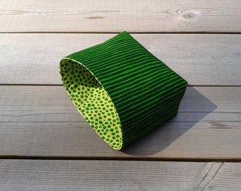 Srtiped green basket made from Marimekko fabric, Organizer Bin Container Storage Box, baby room decor, small gift basket