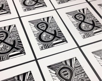 Monochrome alphabet Lino Print of ampersand with lines, home decor