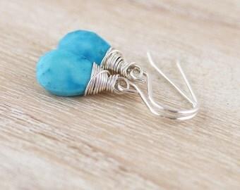 Sleeping Beauty Turquoise & Sterling Silver Drop Earrings. Wire Wrapped Jewelry. Gemstone Jewellery. Dangle Earrings. Dainty Bead Earrings