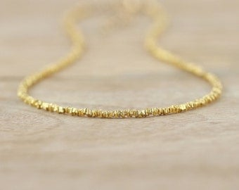 Gold Filled & Gold Vermeil Delicate Heishi Bead Necklace. Adjustable Beaded Choker. Long Layering Necklace. Dainty Karen Hill Tribe Jewelry