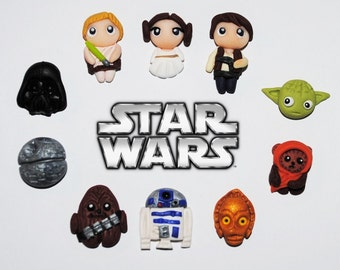 Polymer clay Star Wars mini stud earrings - 10 separate characters