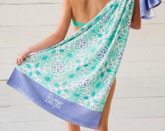 Sea Tile Beach Towel, Personalized Beach Towel