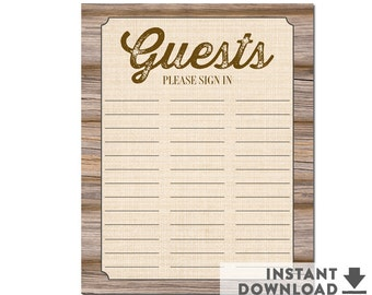 """Rustic Baby Shower Guest Sign-in Sheet Guestbook Alternativ  8x10"""" Guest Book Alternative Sign Rustic Baby Shower Decoration • No.709BROWN"""