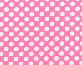 Candy Pink Ta Dot pink polka dot fabric by Michael Miller Pink with white dot fabric by the yard, sewing quilting apparel fabric