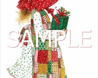 Fabric Art Quilt Block -  Holly Hobbie Christmas - 14-0384 FREE Shipping