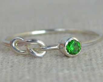 Emerald Infinity Ring, Sterling Silver, Stackable Rings, Mother's Ring, May Birthstone, Infinity Ring, Silver Emerald Ring