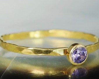Dainty Solid 14k Gold Amethyst Ring,  Gold Solitaire, Solitaire Ring,Solid Gold, February Birthstone, Mothers RIng, Solid Gold Band, Gold