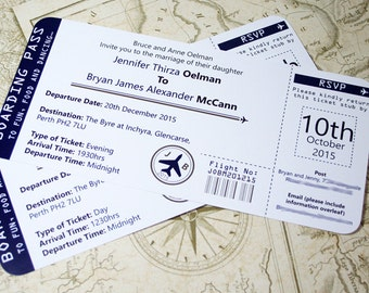 Boarding Pass/ Plane Ticket -  Wedding Invitations - Tear off RSVP stub - Personalised - Colour Matched