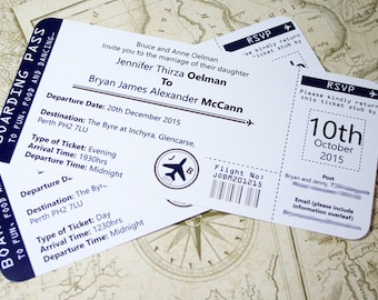 Boarding Pass Wedding Invitations - Tear off RSVP stub - Personalised