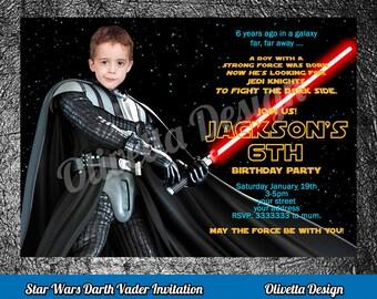 Darth Vader Invitation, Star Wars Invitation, Star Wars Birthday Invitation, Star Wars Invite, Printable Darth Vader Invite, with your photo