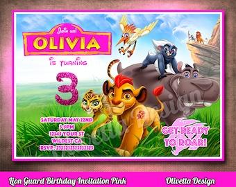 Lion Guard Invitation, Lion Guard Invite, Printable Lion Guard Invite, Lion Guard Birthday Invitation Pink Digital File