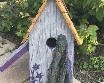 Unique Outdoor Whimical Birdhouse-Reclaimed Wood Birdhouse- Hand Painted #81510