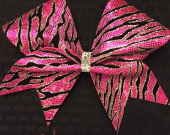 Cheer bow - pink, black and silver zebra