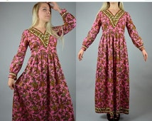 SALE Tatiana | Small | 1970s Vintage Bohemian Maxi Summer Dress 70s Terrycloth Floral Pink Boho