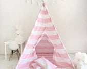 Kids Play Tent Teepee Handmade in Pink and White Stripe Designer Cotton Fabric. Comes With Padded Mat Base AND Two Pillo