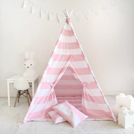 Kids Play Tent Teepee Handmade in Pink and White Stripe Designer Cotton Fabric.