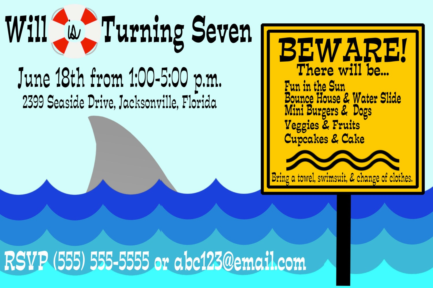 shark party invitation swimming invitation beach themed party end