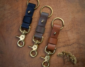 Dark Brown Leather Key Fob BRASS belt loop Key Landyard // Personalize name //Keychain solid brass swivel snap // Tan