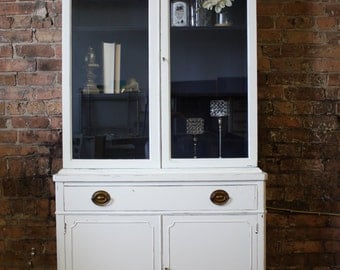 SOLD- Distressed, Antique, White Hutch/China Cabinet with Navy Interior- Item 0079