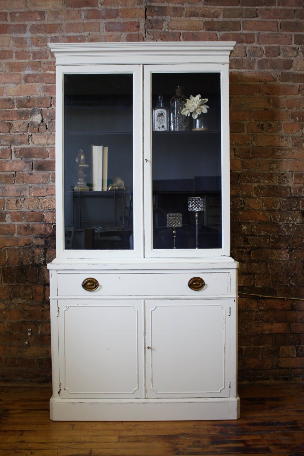SOLD Distressed Antique White Hutch/China Cabinet With Navy