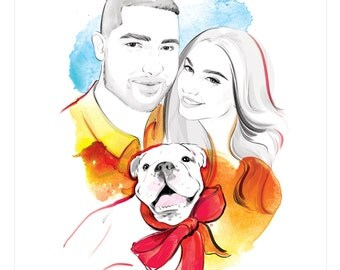 Custom family portrait. Couple portrait. Original fashion style drawing from photo. Custom portrait from photo. Christmas gift. DIGITAL ONLY