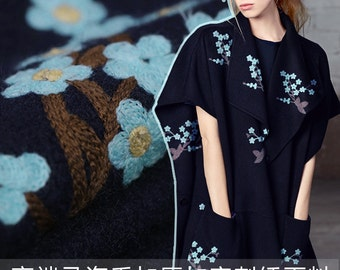 160CM Wide 640G/M Weight Embroidery Mohair & Wool Thick Fabric for Autumn and Winter Dress Overcoat E236