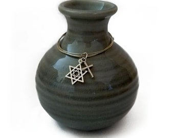 Interfaith Vase, Jewish-Christian, Ready to Ship