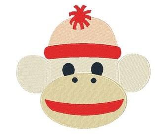Sock Monkey Machine Embroidery Design 051514 Filled Stitch 4X4 5X7 8X8 6X10 Instant download