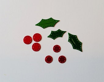 Stitched Holly Leaves and Berries Die Cuts-Now Available in Foil