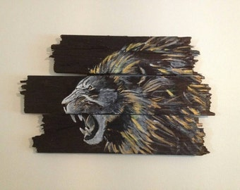 Rustic Lion Painting