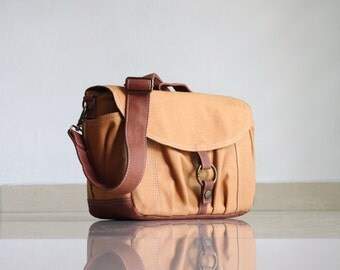 Sale SALE - Koi-S, Khaki Brown, Canvas Camera Bag/ Camera Bag/  dslr camera bag/ Women Camera Bag/ Gift,  40% OFF