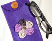Fabric flower pouch, Soft Glasses case, Purple sunglasses case, Felt phone sleeve, Pretty eyeglass holder, Handmade in UK