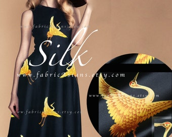 Black Silk Fabric Golden Crane fabric - achat tissu japonais en ligne