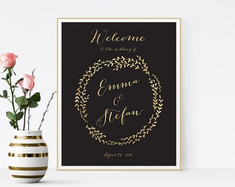 black gold wedding welcome sign, wedding welcome sign, welcome sign wedding, welcome sign, wedding reception sign, gold glitter welcome sign