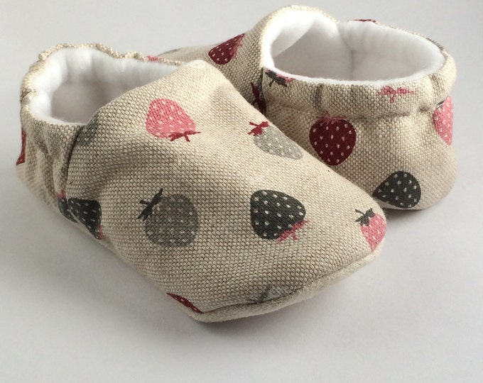 Yummy little strawberry. soft sole slip on baby shoes.